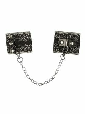 OBSESSIVE WIDE CHAINED SILVER HANDCUFFS