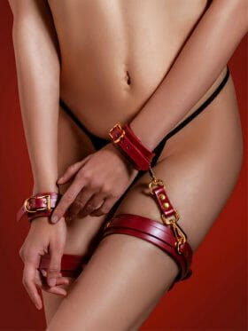 TABOOM BONDAGE RED FAUX LEATHER WRIST TO THIGH CUFF SET